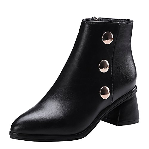 Heel Latasa Latasa Black toe Womens Chunky Ankle Pointed Womens Boots Opawq