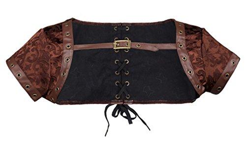 Charmian Women's Steampunk Gothic Retro Brocade Corset Shrug Jacket Accessory Brocade-Brown XXXX-Large by Charmian