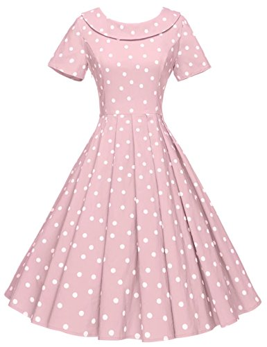 GownTown Women's 1950s Polka Dot Vintage Dresses Audrey Hepburn Style Party Dresses Pink