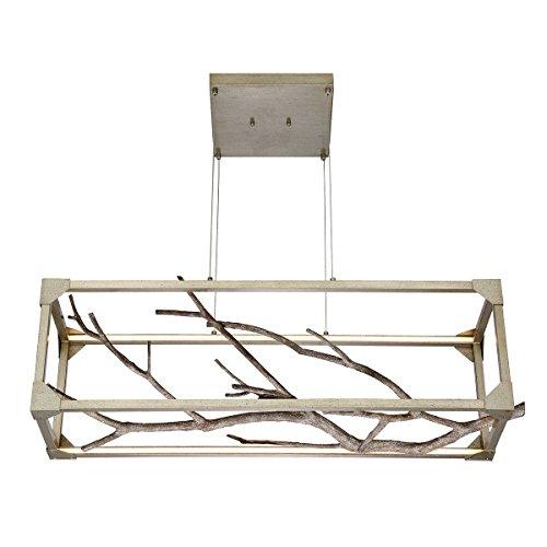 - Eurofase Aldo Natural Branch LED Linear Chandelier, Antiqued Silver Frame, 40.5 Inches Long-Model 30078-017