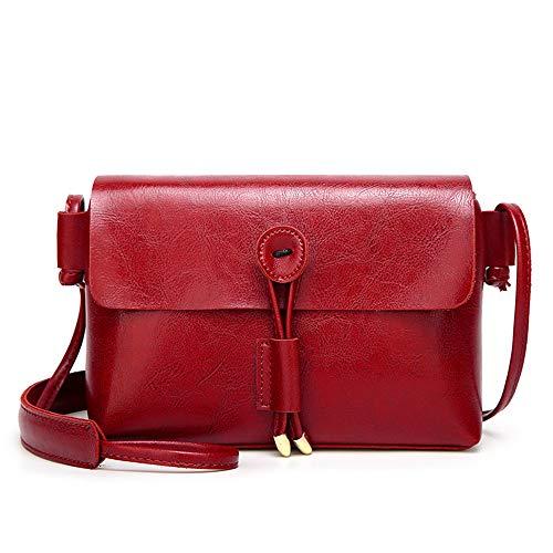 para multifunción Bobo Hombro de Rojo Diagonal Mujer Borla sintética pequeño Cuadrado Small Piel Bolso Rojo con Coreana nw4x4rt