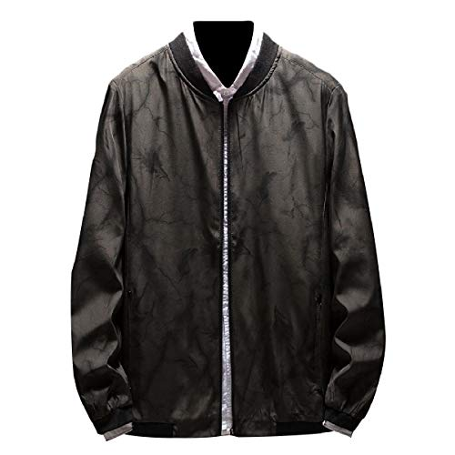 Leisure Mogogo Dark Plus Men's Baseball Floral Zipper Size Grey Print Jacket Short FFqEaxwZ