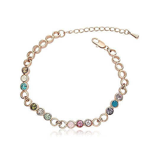 Plated Colored Crystal Zirconia Bracelet