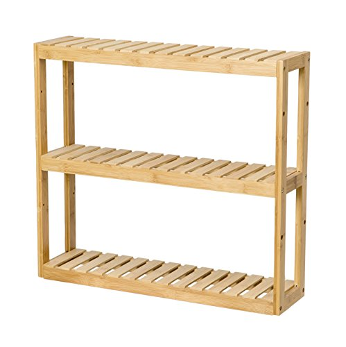 Finnhomy Multifunctional Bamboo Shelf Wood Rack, Adjustable Wall Mount 3-Tier Utility Storage Shelves Bamboo Shelving Unit Organizer Bathroom Kitchen Living Room Holder Stand - Wall Mount Shelving Unit