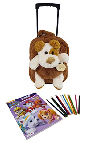 Rolling Backpack Friends (Kids Plush Animal Puppy Rolling Backpack By Lug It -Best Wheeled Luggage Travel Tote–BONUS: Coloring Book & Pencils)