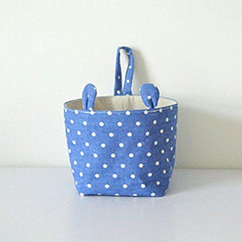 mk. park - Linen Storage Bag Home Toiletry Hanging Organizer Basket Holder Desk Gadget (Blue)