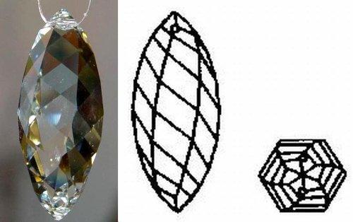 Swarovski Strass Crystal Olive Twist with Laser Logo Etched 50mm # - Chandelier Strass Crystal Lamp