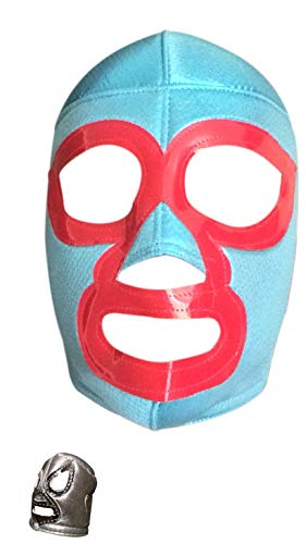 Wrestling Mask Adult with Free Assorted Luchador Mask Keychain (Nacho Libre) -