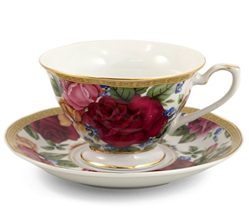 Italian Porcelain Rose Flower 12 Piece Cup and Saucer Gif...