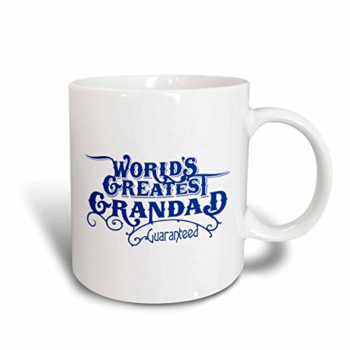 3dRose 219403_6 Worlds Greatest Grandad Guaranteed Design In Blue And White Mug 11oz
