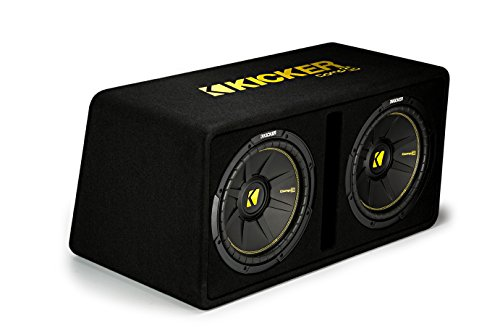 Kicker Dual 12-Inch 1200 Watt 2 Ohm Vented Loaded Subwoofer Enclosure, 44DCWC122,Black,31.88 x 13.2 x 17.25 x 16 - Box 12 Inch Double Subwoofer