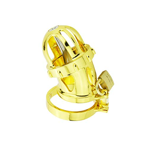 (CJH Bright Gold Colour Male Chastìty Belt Device Chastìty Lock 24K Gold-Plated Fashion Bright for Boyfriend T-Shirt (Size : L))