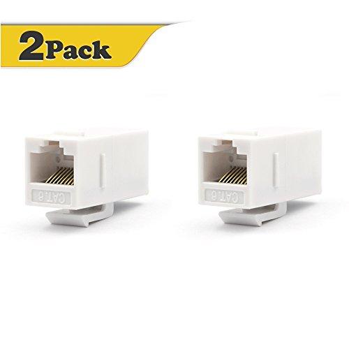VCE 2-Pack CAT6 RJ45 Keystone Jack Inline Coupler-White UL Listed
