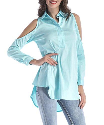 Revers Femmes Tunique Tops Dnude Casual Longues Chemisiers Fashion Blouses Irrgulier Manches Bleu Bouton Haut Couleur Long Unie JackenLOVE Ciel Printemps avec paule FOq5CwxgH