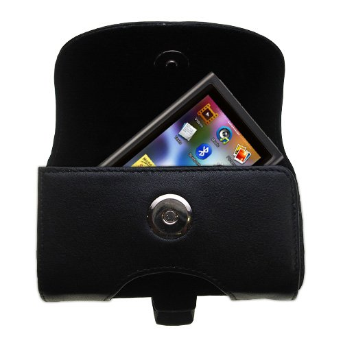 Belt Mounted Leather Case Custom Designed for the Samsung YP-P3 - Black Color with Removable Clip by Gomadic