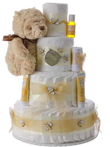 Winnie The Pooh 4 Tier Diaper Cake by Lil Baby Cakes from Lil' Baby Cakes