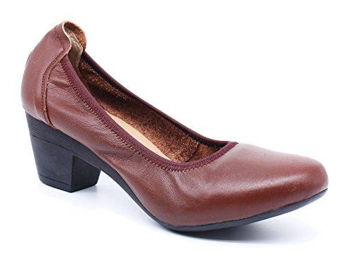 À Marron Femme Escarpins Confortable Ubeauty Pumps Hauts Chaussures Cuir Talon Sexy Bloc 40mm Professionnelles vRT1qw