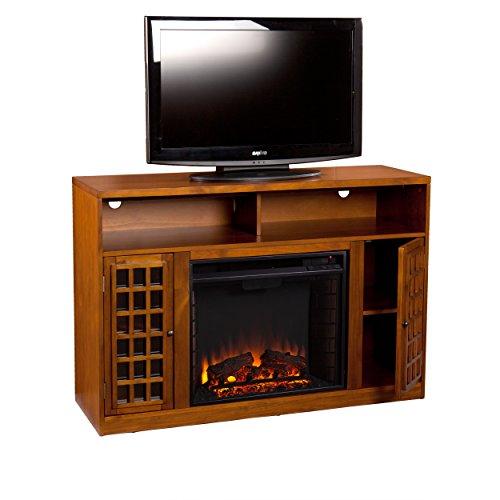 Media Electric Fireplace - Television Media Stand - Glazed Pine Wood Finish