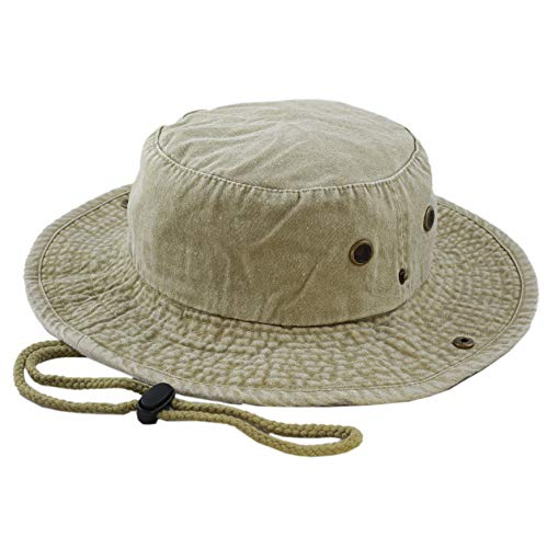 - THE HAT DEPOT 100% Cotton Stone-Washed Safari Wide Brim Foldable Double-Sided Outdoor Boonie Bucket Hat (L/XL, Pigment - Khaki)