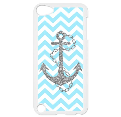 Case Free Custom Hard - Light Blue Chevron Zigzags & Gray Anchor Pattern Best Plastic Hard Case for iPod Touch 5 /iPod Touch 6