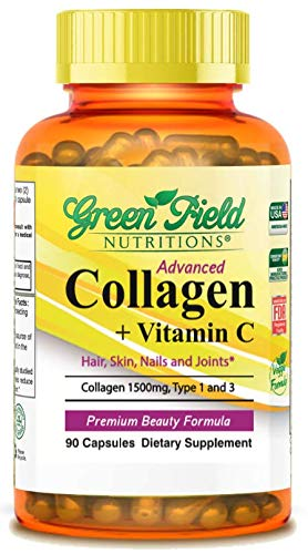 Halal Collagen 1500 mg with Vitamin C 300 mg for Hair, Skin, Nails, and Joints, 90 Capsules