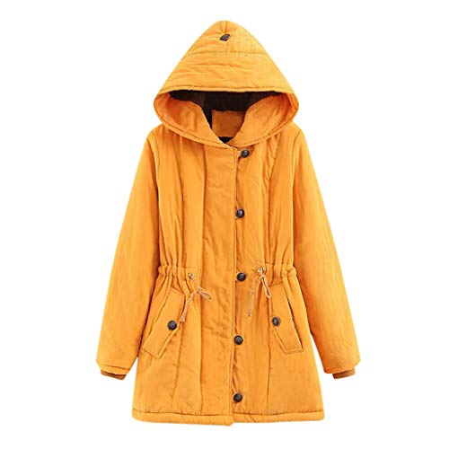 Women Vintage Military Anorak Jacket Adjustable Waist Tunic Hooded Jacket Winter Warm Coat Ski Outdoor Jackets(Yellow, XL)