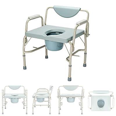 Binlin Shower Chair,Commode Bath Chair Wheelchair for Toilet Multifunctional Portable Steel Plastic Bidet Shower Chair for Elder Disabled People Pregnant Women,Blue&Gray