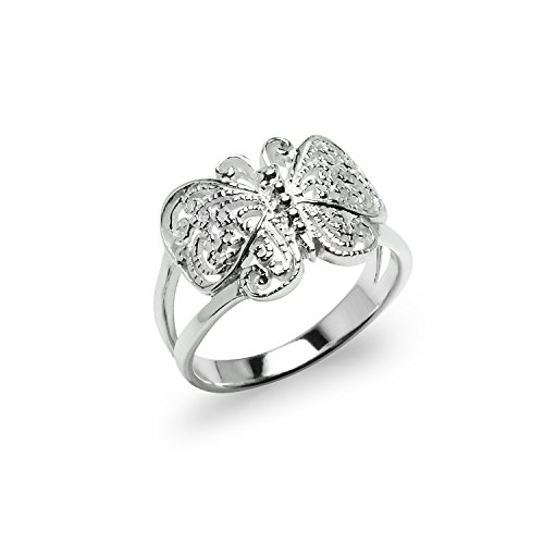 River Island Jewelry 925 Sterling Silver Victorian Filigree Wirework Butterfly Ring Size ()