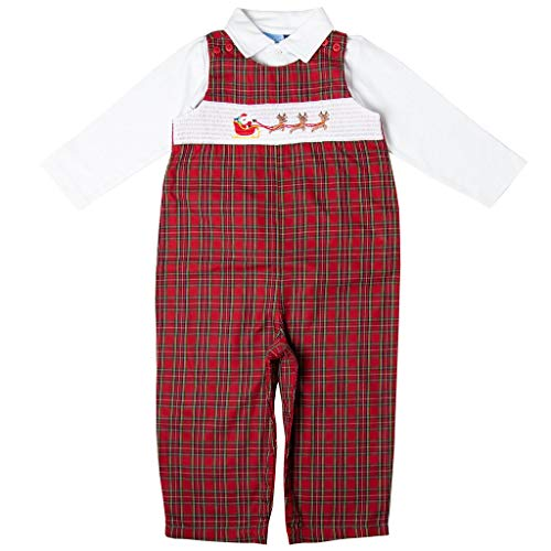 Good Lad Newborn/Infant Boys Red and Green Plaid Christmas Motiff Smocked Overall Set (3/6M)