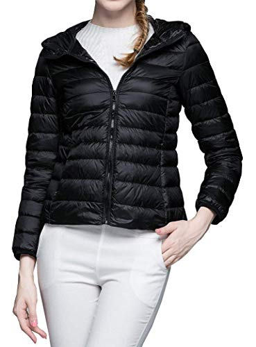 Ladies Sleeve Lightweight Style Short Winter Slim Schwarz BoBoLily Autumn Coat Packable Coat Jacket Down Long Special Quilted Hooded Color Solid Down Fit 6qnxEIf