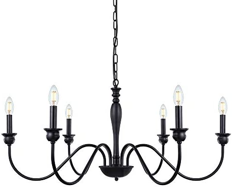 Wellmet 6-Light Farmhouse Chandelier 38 Inch, Rustic Industrial Iron Chandeliers Lighting Black for Foyer, Living Room, Kitchen Island, Dining Room, Bedroom