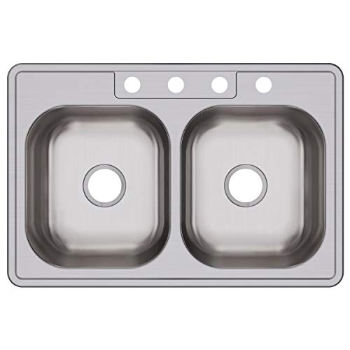 - Dayton DSE233224 Equal Double Bowl Top Mount Stainless Steel Sink