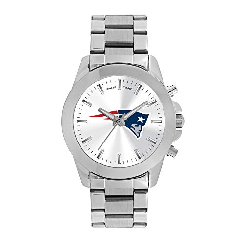 New England Patriots Womens Watch - Game Time Women's 'Knock-Out' Quartz Stainless Steel Quartz Analog Watch, Color:Silver-Toned (Model: NFL-TBY-NE)