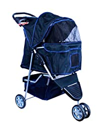 New Deluxe Folding 3 Wheel Pet Dog Cat Stroller Carrier w Cup Holder Tray Black