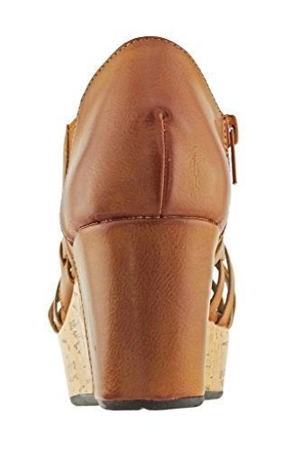 (Pierre Dumas Women's Natural-1 Vegan Leather Criss Cross Strappy Wedge Platform Sandals,New Tan,7 )