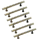 FirstDecor 6pcs Bamboo Kitchen Cabinet Handles,Antique Brass Bar Modern  Knobs Pulls for Cupboard/Cloest/Bookcase/Cloakroom/Bathroom/Bathroom Cabinet