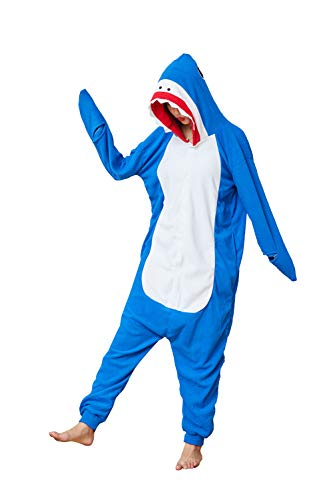 Cousinpjs Adult Shark Onesie Cosplay Costume Onepiece Sleepwear Halloween Pajamas (Blue, Small)