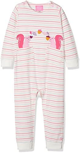 Joules Baby Gracie Long Sleeve Babygrow in Multi Stripe Squirrel