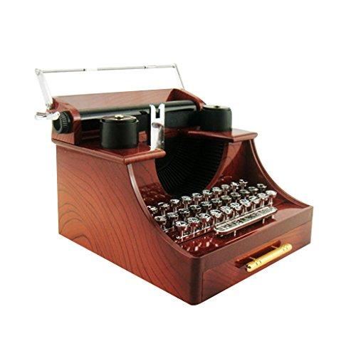 Retro Schreibmaschine Spieluhr Uhrwerk Musik Kassette Braun