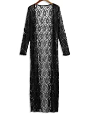 SDADS Women Floral Lace Kimono Semi Sheer Plus Size Solid Open Front Long Elegant Beach Cover Up Cardigan