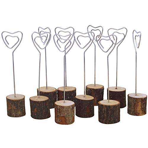 - Card Clip Holders with Wood Base and Iron Wire, 6'' Tall Sign Photo Memo Clip Holder Stand Set, for Party, Wedding Ceremony, Fair, Demonstration, Home Decorations, Resturant, 10pcs (Heart Shape)