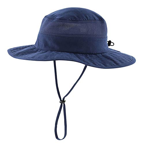 Connectyle Unisex Child Kids UPF 50+ UV Sun Protection Hat Adjustable Wide Brim Bucket Sun Hats Navy Blue]()