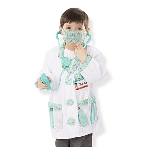 Melissa & Doug Doctor Role Play Costume Dress-Up Set (7 pcs) - Kids Dr Kit
