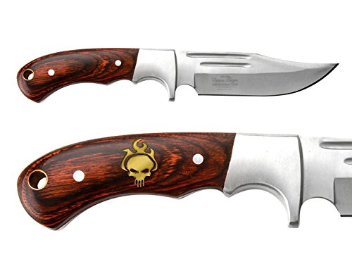 - NDZ Performance Full-Tang Fixed Blade Hunting Straight Edge Knife Elk Ridge ER-052 Wood Bolster with Sheath Skull Flames - Gold Paint
