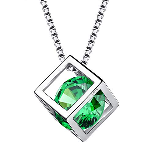 Aurora Tears May Birthstone Necklaces Women 925 Sterling Silver Crystal 3D Cube Birth Stone Pendant Cubic Zirconia Birthday Pendant Girls Charm Dating Jewelry DP0028G ()