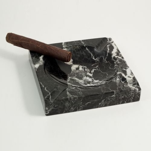Bey-Berk Square Solid Marble Four Cigar Ashtray, Black by Bey-Berk