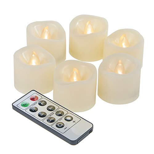 """iZAN 6-Pack Flameless Battery Operated LED Tealight Candles with Remote Waved-top Flickering Electric Decorative Tea Lights for Christmas Home Party Wedding Decorations1.5""""x1.5"""" Batteries Included"""