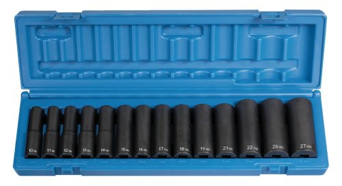 Grey Pneumatic Corp 1412MD 1/2'' Drive Deep Length Metric Set - 14 Piece