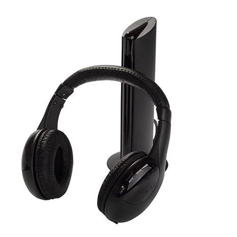 TOOGOO(R) Auriculares de diadema inalambricos para HDTV, TV, VCD, PC, MP3, MP4, CD y DVD (5 en 1, Hi-Fi, con radio FM), color negro: Amazon.es: Electrónica