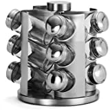 Stainless Steel Revolving Spice Rack with 12 Glass Jars